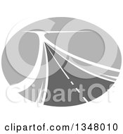 Clipart Of A Grayscale Two Lane Highway Road In An Oval Royalty Free Vector Illustration