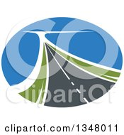 Clipart Of A Two Lane Highway Road In An Oval Royalty Free Vector Illustration