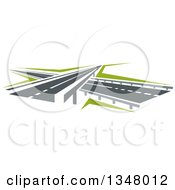 Clipart Of Highway Road Over And Under Passes Royalty Free Vector Illustration
