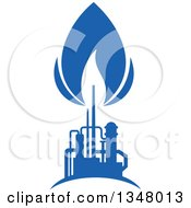 Clipart Of A Silhouetted Blue Natural Gas And Flame Factory 8 Royalty Free Vector Illustration