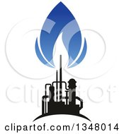 Clipart Of A Black And Blue Silhouetted Natural Gas And Flame Design Royalty Free Vector Illustration