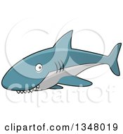 Cartoon Blue And Gray Shark With A Toothy Grin