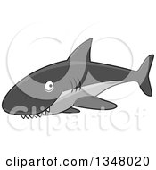 Clipart Of A Cartoon Gray Shark With A Toothy Grin Royalty Free Vector Illustration