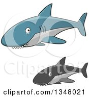 Clipart Of Cartoon Blue And Gray Sharks With Toothy Grins Royalty Free Vector Illustration