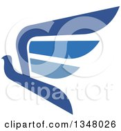 Clipart Of A Blue Flying Peace Dove 4 Royalty Free Vector Illustration by Vector Tradition SM