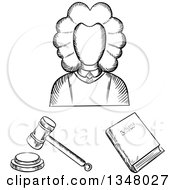 Clipart Of A Black And White Sketched Female Judge Law Book And Gavel Royalty Free Vector Illustration by Vector Tradition SM