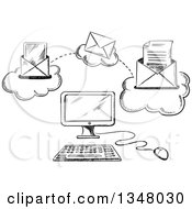 Clipart Of A Black And White Sketched Desktop Computer And Sending Email Royalty Free Vector Illustration by Vector Tradition SM