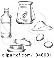 Clipart Of A Black And White Sketched Bag Of Flour Bottle Eggs And Butter Royalty Free Vector Illustration