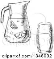 Clipart Of A Black And White Sketched Glass And Pitcher Of Lemonade Royalty Free Vector Illustration