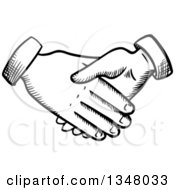 Clipart Of Black And White Sketched Hands Shaking Royalty Free Vector Illustration