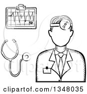 Clipart Of A Black And White Sketched Male Doctor Stethoscope And Chart Royalty Free Vector Illustration
