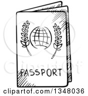 Clipart Of A Black And White Sketched Passport Royalty Free Vector Illustration by Vector Tradition SM
