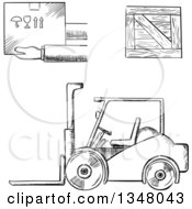 Clipart Of A Black And White Sketched Warehouse Forklift Shipping Crate And Fragile Box Royalty Free Vector Illustration by Vector Tradition SM
