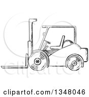 Clipart Of A Black And White Sketched Warehouse Forklift Royalty Free Vector Illustration by Vector Tradition SM