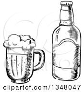 Clipart Of A Black And White Sketched Beer Mug And Bottle Royalty Free Vector Illustration