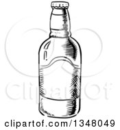 Clipart Of A Black And White Sketched Beer Bottle Royalty Free Vector Illustration