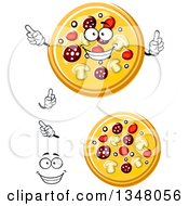 Clipart Of A Cartoon Face Hands And Pizzas 2 Royalty Free Vector Illustration