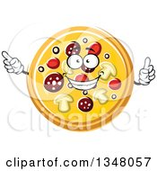Clipart Of A Cartoon Pizzas Character Holding Up A Finger And Pointing Royalty Free Vector Illustration