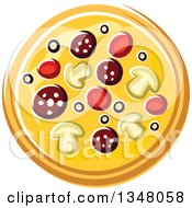 Clipart Of A Cartoon Supreme Pizza 2 Royalty Free Vector Illustration