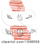 Clipart Of A Cartoon Face Hands And Bacon Slices Royalty Free Vector Illustration