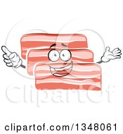 Clipart Of A Cartoon Bacon Slices Character Royalty Free Vector Illustration by Vector Tradition SM