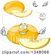 Clipart Of A Cartoon Face Hands And Canary Melons 2 Royalty Free Vector Illustration