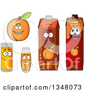 Clipart Of A Cartoon Apricot Character And Juices 4 Royalty Free Vector Illustration