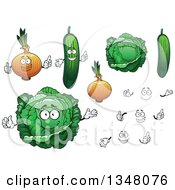 Clipart Of Cartoon Cabbage Yellow Onion And Cucumbers Royalty Free Vector Illustration