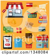 Clipart Of Flat Design Shopping And Business Items On Yellow Royalty Free Vector Illustration by Vector Tradition SM