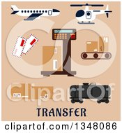 Clipart Of A Flat Design Airplane Helicopter And Airport Shipping Items With Text On Beige Royalty Free Vector Illustration by Vector Tradition SM