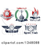 Sports Designs With Text And Volleyballs