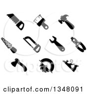 Clipart Of Black And White Claw Hammer Wrench Pliers Axe Paintbrush Hand Saw Flat Rasp Hacksaw And Jack Plane Hand Tools Royalty Free Vector Illustration