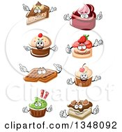 Clipart Of Cartoon Cake Cupcake And Waffle Characters Royalty Free Vector Illustration