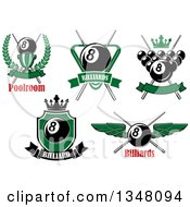 Clipart Of Sports Designs With Text And Billiards Eight Balls Royalty Free Vector Illustration