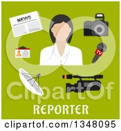 Clipart Of A Flat Design Female Reporter With Equipment Over Text On Green Royalty Free Vector Illustration by Seamartini Graphics