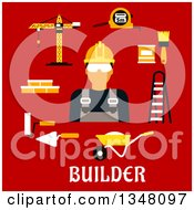 Clipart Of A Flat Design Male Builder With Accessories Over Text On Red Royalty Free Vector Illustration