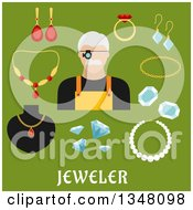Clipart Of A Flat Design Male Jeweler And Jewelery With Text On Green Royalty Free Vector Illustration