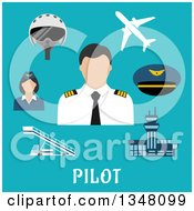Clipart Of A Flat Design Male Pilot Accessories And Text On Blue Royalty Free Vector Illustration