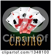 Clipart Of Playing Cards And Lucky Sevens Over Casino Text On Dark Green And Black Royalty Free Vector Illustration