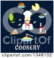 Clipart Of A Flat Design Male Chef Avatar With Food Over Text On Navy Blue Royalty Free Vector Illustration