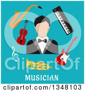 Clipart Of A Flat Design Male Musician With Instruments Over Text On Blue Royalty Free Vector Illustration