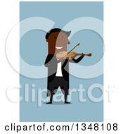 Clipart Of A Flat Design Black Man Playing A Violin On Blue Royalty Free Vector Illustration