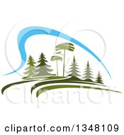 Clipart Of A Park With Evergreen Trees And Blue Sky Royalty Free Vector Illustration by Vector Tradition SM