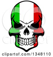 Clipart Of A Grinning Evil Skull In Italian Flag Colors Royalty Free Vector Illustration