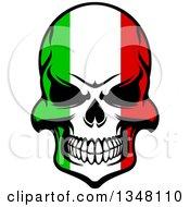 Poster, Art Print Of Grinning Evil Skull In Italian Flag Colors