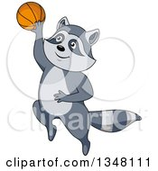 Clipart Of A Cartoon Raccoon Jumping And Shooting A Basketball Royalty Free Vector Illustration by Vector Tradition SM