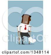 Clipart Of A Flat Design Of A Hurt Black Businessman Using Crutches On Blue Royalty Free Vector Illustration
