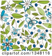 Clipart Of A Seamless Background Of Flowers Leaves And Blueberries Royalty Free Vector Illustration