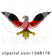 Clipart Of A Flying German Flag Colored Eagle Royalty Free Vector Illustration