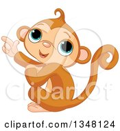 Clipart Of A Happy Monkey Pointing To The Left Royalty Free Vector Illustration by Pushkin